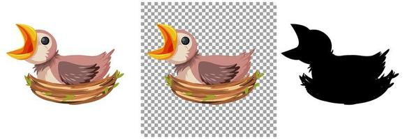 hongerig kuiken dat op voedsel in het nest wacht