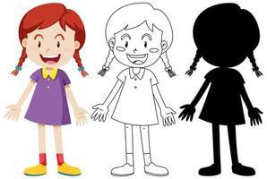 meisje draagt schattige outfit in kleur en omtrek en silhouet vector
