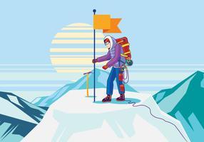 Alpinist op de top vector