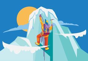 Bergbeklimmer viert de verovering van de top vector