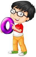 nerdy jongen die een bril draagt die wiskunde nummer nul houdt