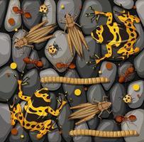 set van verschillende insecten geïsoleerd op stenen textuur vector