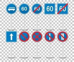 set van blauwe verkeersborden met standaard geïsoleerd op transparante achtergrond