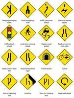 set van geel verkeerswaarschuwingsbord op witte achtergrond vector