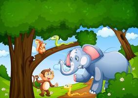 wild dier in de jungle scene vector