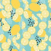 fruit naadloos patroon, citroenen met tropische bladeren vector