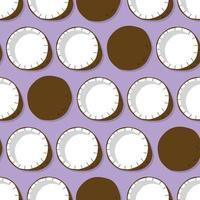 kokosnoot met schaduw op paarse achtergrond. vector