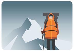 Alpinist op bergvector vector