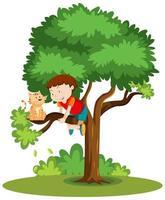 een jongen die klimt om een kat te helpen die op de geïsoleerde boombeeldverhaal wordt geplakt vector