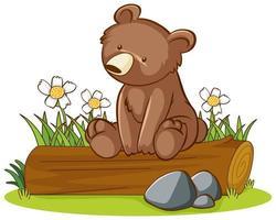 geïsoleerde foto van grizzly beer op logboek vector