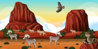 woestijn met rotsbergen en woestijndierenlandschap bij dagscène vector