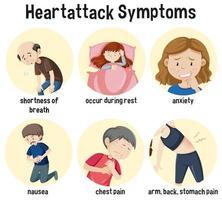 hartaanval symptomen informatie infographic vector