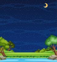 verticale natuurtafereel of landschapslandschap met boszicht op de rivier en lege hemel 's nachts vector