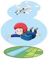 skydriver vliegen in de heldere lucht met vliegtuig cartoon-stijl