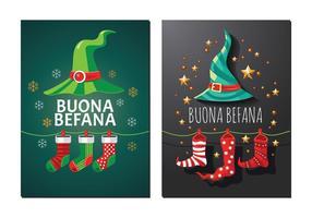 Wenskaart van Befana. Italiaanse Kerst Traditie