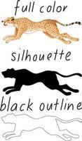 set luipaard in kleur, silhouet en zwarte omtrek op witte achtergrond