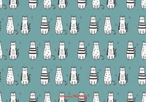Doodle Cats Vector Patroon
