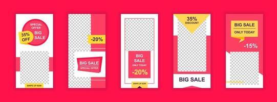 grote verkoop bewerkbare sjablonen voor verhalen op sociale media vector