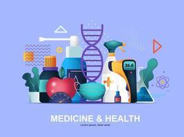 geneeskunde en gezondheid plat concept met hellingen vector