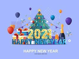 gelukkig nieuw jaar 2021 plat concept met hellingen