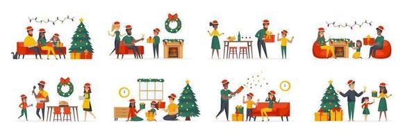 kerstfamiliebundel van scènes met karakters van platte mensen vector