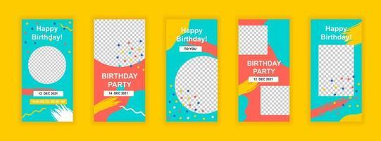 bewerkbare sjablonen voor verjaardagsfeestjes voor verhalen op sociale media vector