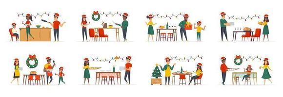 kerstdiner bundel scènes met personagekarakters vector