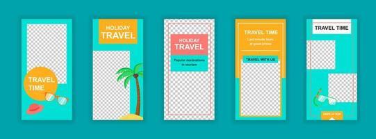 reisvakantie bewerkbare sjablonen voor verhalen op sociale media vector