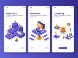 open kantoor isometrische ontwerpset