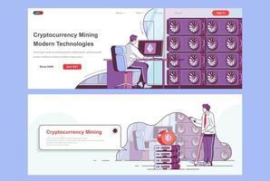 bestemmingspagina's voor cryptocurrency-mijnbouw vector
