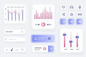 gui-elementen voor de mobiele app van de muziekspeler vector