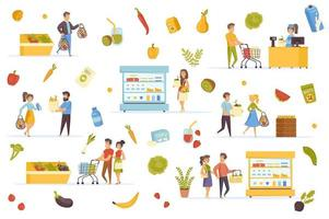 veganistische voedselbundel van platte scènes vector