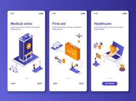 medische kliniek isometrische gui-ontwerpset vector