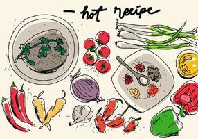 Hot Chili Habanero Recept Hand Gedroogde Vector Achtergrond Illustratie