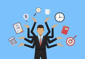 Platte mensen multitasking vectoren