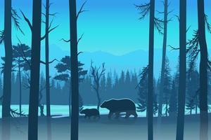 beren in het bosontwerp in blauwe tinten