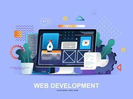 webontwikkeling platte concept met hellingen vector