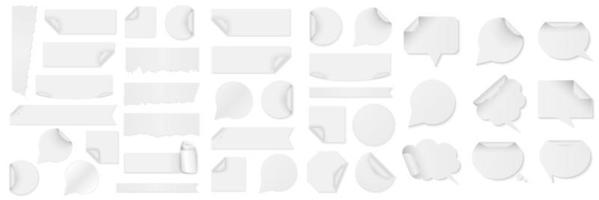 bundel witte papieren stickers in verschillende vormen vector