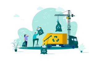 afvalbeheerconcept in vlakke stijl