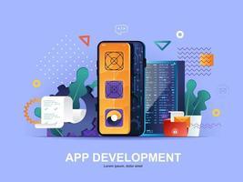 app-ontwikkeling plat concept met hellingen vector
