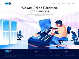 we zijn online onderwijs voor iedereen landingspagina vector