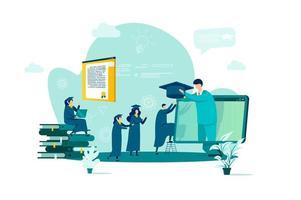 online onderwijsconcept in vlakke stijl