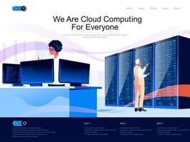 we zijn cloud computing voor de bestemmingspagina van iedereen vector
