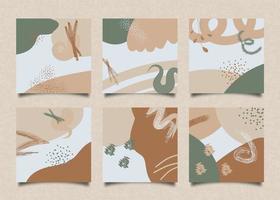 vierkante kaarten met trendy abstracte vormen in aardetinten vector