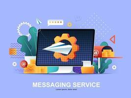 messaging-dienst plat concept met hellingen