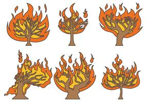 Brandende Bush Vector Pictogrammen