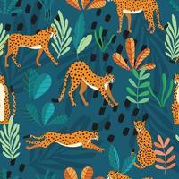 naadloze patroon met hand getrokken grote kat cheeta's vector