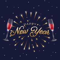twee glazen wijn om nieuwjaar te vieren vector