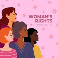 vier vrouwen van verschillende nationaliteiten