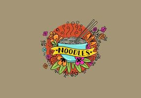 Noodle Bowl Bloemen Tattoo Style Art vector